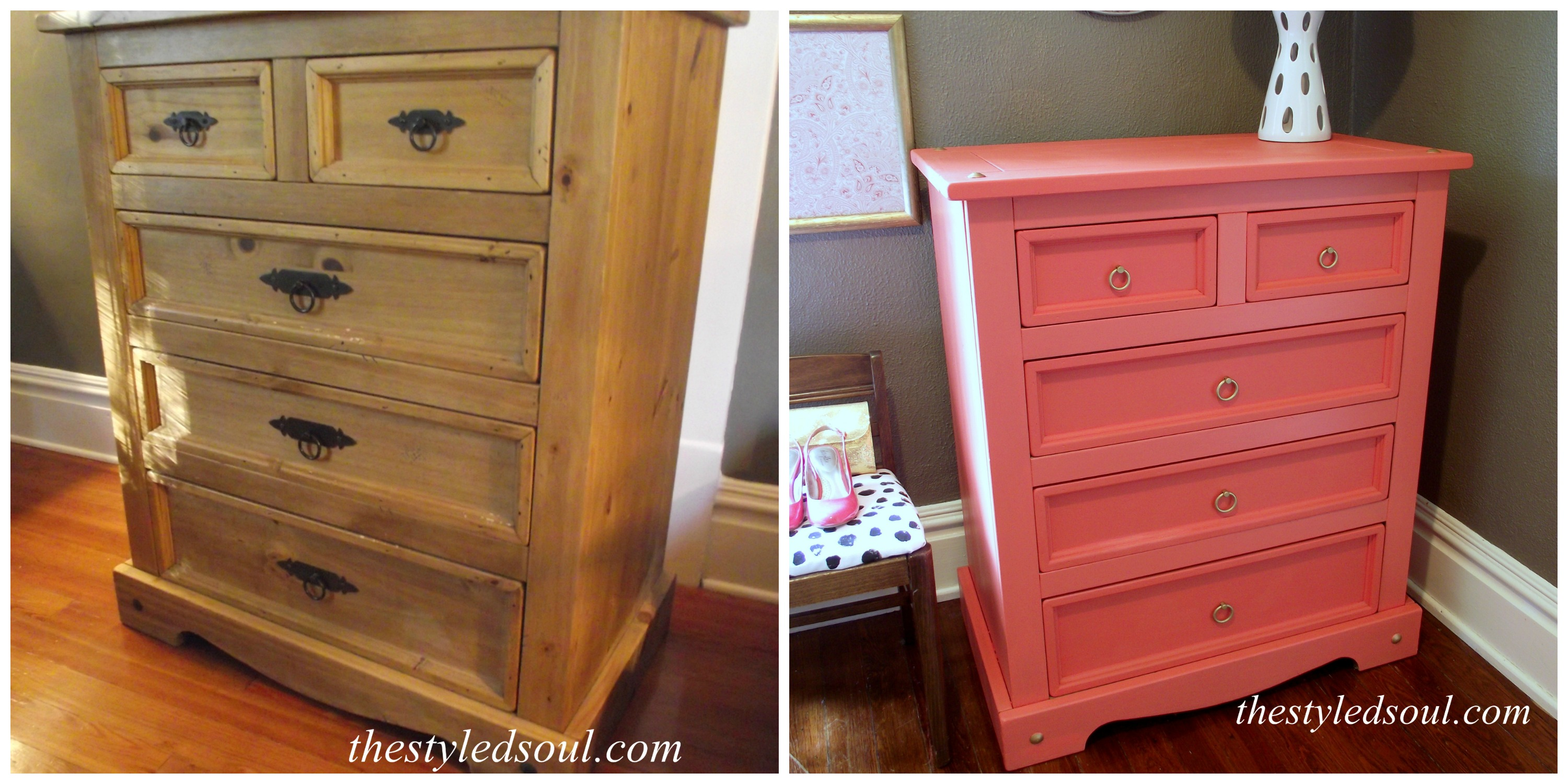 coral chest before and after