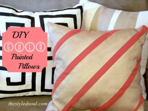 diy gold painted pillows